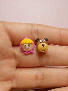 Stud Earrings – Mascha and the bear earrings – a unique product by NahootDesign on DaWanda