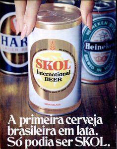 Anúncio da década de 1970, com a primeira cerveja em lata do Brasil