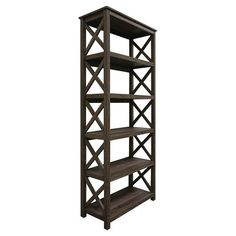 Replace your ailing bookcase with this x-side beauty from target. It brings visual interest and texture because of the grain to the wood.