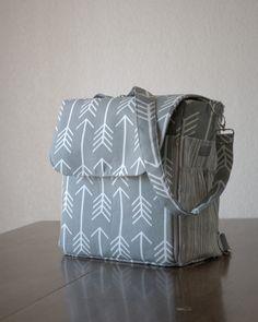 Grey Arrow Backpack Diaper Bag Convertible Diaper by daintybean