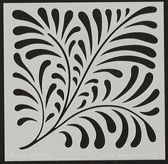 Nouveau Fern Template by Judikins Stencil Printing, Stencil Art, Stencil Patterns, Stencil Designs, Applique Patterns, Woodblock Print, Maori Designs, Reverse Applique, Cut Canvas