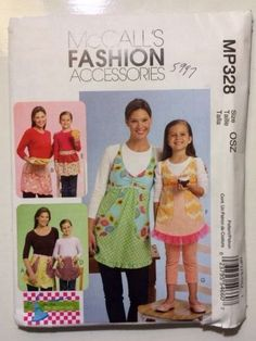 UNCUT McCall's M5997 Fashion Accesories Kids and Adult Aprons