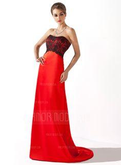 Empire Sweetheart Sweep Train Charmeuse Lace Bridesmaid Dress (007004299)