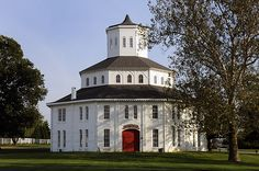 Floral Hall, also known as The Round Barn, is adjacent to The Red Mile race track in Lexington, Kentucky.
