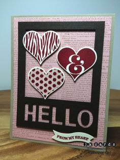 Stampin' Up!, Framed Hello from the Heart, Groovy Love, Dictionary Background, Squares Collection Framelits, Bitty Banners Framelits, Little Letters Thinlits
