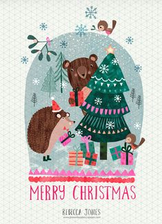 Bear snow globe- illustration by Rebecca Jones