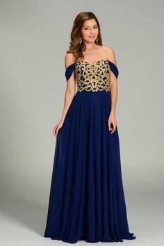 Vestido azul con encaje dorado