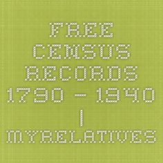 Free Census Records 1790 – 1940 | MyRelatives