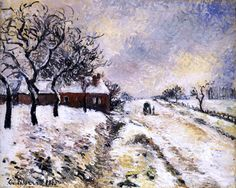 Snow Effect at Eragny, Road to Gisors by Camille Pissarro (France)