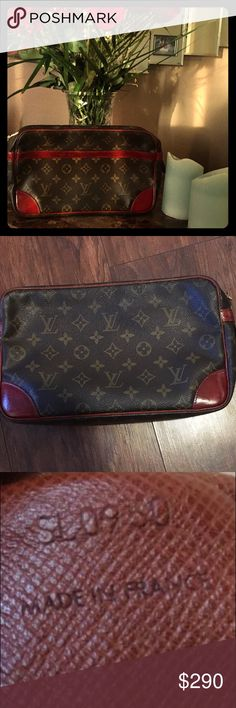 "Authentic Louis Vuitton toto pm mm clutch Auth LOUIS VUITTON  sienna 28 clutch bag pouch monogram canvas toto pm mm  Item condition:Like new  Color: Browns, sienna Style: handbag pouch Product No.SL0950 size:W 11"" x H 6.8"" x D 2.8"" Louis Vuitton Bags Clutches & Wristlets"