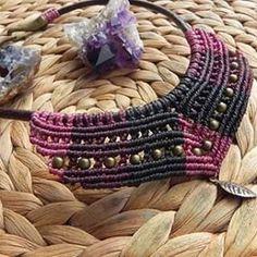 #macrame #QuetzArt #jewelry #macramenecklace #handmadejewelry #choker #bohemianjewelry #boho #bohochic #handmade  Available at https://www.etsy.com/listing/252544820/macrame-black-pink-and-dark-purple?ref=shop_home_active_22