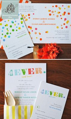 This wedding invitation is inspired by wood block letters, stamp sets, and punches of color, they're super fun for a summer wedding or the couple that loves to make every day a celebration.