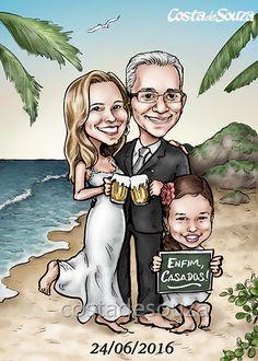 Caricatura para casamento. Noivos e filha. #praia #caricature #wedding #convite