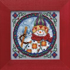 """JS149101 - Northern Snowman by Jim Shore (2009) - Mill Hill - Jim Shore Kits - Winter Series Kit Includes: Beads, 14ct perforated paper, needles, floss, chart and instructions.  Mill Hill frame GBFRM9 sold separately Size: 5"""" x 5"""""""