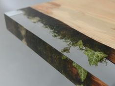 The Trail Console is made from a single wood plank,log from the undergrowth of the Italian Dolomite mountains, cut into three parts, his mosses and resin. Resin And Wood Diy, Diy Resin Table, Resin Furniture, Console Furniture, Furniture Ideas, Wooden Wall Panels, Leaf Table, Wood Planks, Resin Crafts