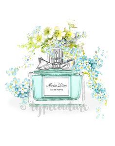 """Watercolour Miss Dior perfume bottle art. """"Miss Dior."""" Modern high fashion wall art. Beautiful Home Décor."""