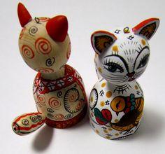"""Сувенир-игрушка """"Кошка"""" авторская работа, дерево, роспись :Православный магазин Риза"""
