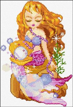 mermaid free cross stitch
