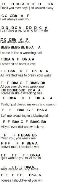 Flute Sheet Music: Wrecking Ball Part 2