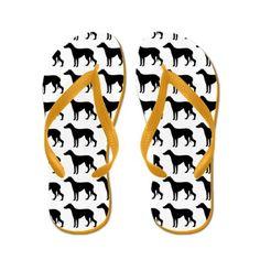 Greyhound Silhouette Flip Flops