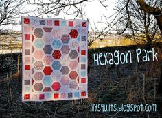 I'm afraid of Hexagons but this pattern looks quite easy. Love it! Hexagon Park for Moda Bake Shop by Lynne @ Lilys Quilts #modabakeshop #modafabrics #lovepinwin