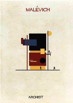 """""""ARCHIST CITY"""" un projet du graphic designer Federico Babina, qui a imaginé des maisons inspirées par les grands artistes de l'art contemporain, de Picasso à Roy Lichtenstein en passant par Mondrian, Dali, Richard Serra, Andy Warhol, Keith Haring et bien d'autres… Une jolie rencontre entre art et architecture !"""