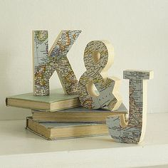 map covered letters to spell karter for his room