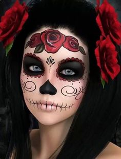 How do you apply Halloween cream makeup? How do you apply clown white makeup? What is the best white makeup to use for Halloween? What is the best makeup for Halloween? How do you apply Halloween face paint? What makeup do you use for Halloween? Halloween Makeup Skull, Maquillage Halloween Clown, Awesome Halloween Costumes, Simple Halloween Makeup, Sugar Skull Halloween Costume, Facepaint Halloween, Beautiful Halloween Makeup, Awesome Makeup, Stunning Makeup