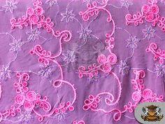 Guipure Floral Cords Fabric FUCHSIA