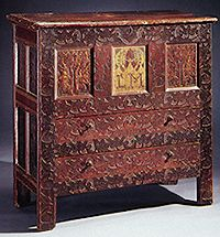 """17th Century Colonial New England Furniture. Beautiful Chest. Hadley chest, Connecticut River Valley, 1670-1700. """"Primitive"""""""