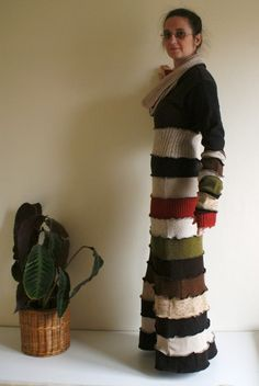 Upcycled woman's clothing Long sweater dress Repurposed by annawoz, $172.00