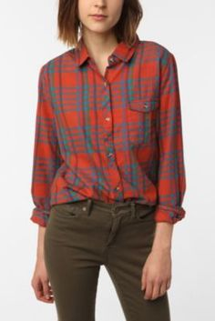 BDG Boyfriend Flannel Plaid Shirt