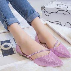New Summer Metal Bandage Women's Fashion Shoes Flat 4 Colors