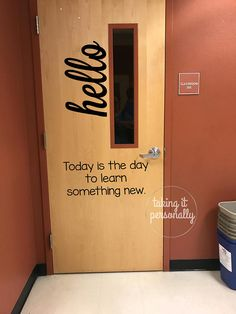 *Please see shop announcements and shipping policies for current processing time.* Do you want a cute classroom door to welcome your students that also fits fire code? This listing is for the black vinyl hello decal and quote to adhere to your classroom door.  Size: Hello 8 x 20  Quote: 20 wide (Height will depend on how many words are in your quote If you need to know in advance, please message us!) These vinyl decals can be applied directly to your clean door. These are made using a…