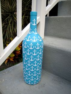 Blue Nautical Anchor Upcycled Glass Bottle