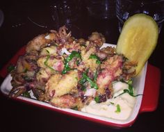 Fried baby squid - excellent with a fresh Picpoul de Pinet