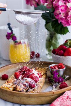 Lemon Ricotta Stuffed French Toast Crepes with Vanilla Stewed Strawberries