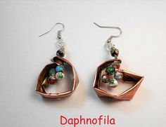 Cloisonne beads earrings Copper earrings Handmade earrings