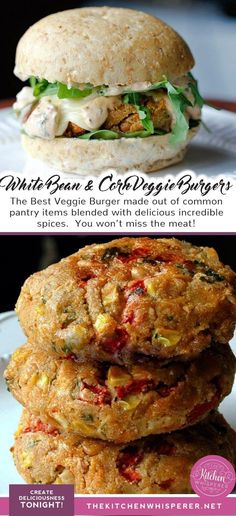 The Best Veggie Burger made out of common pantry items blended with delicious incredible spices. You won't miss the meat! meat The BEST White Bean and Corn Veggie Burgers Bean Recipes, Vegetarian Recipes, Cooking Recipes, Healthy Recipes, Burger Recipes, Veggie Meat Recipes, Vegetarian Diets, Vegan Foods, Best Veggie Burger