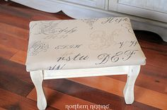 Reupholstered foot stool
