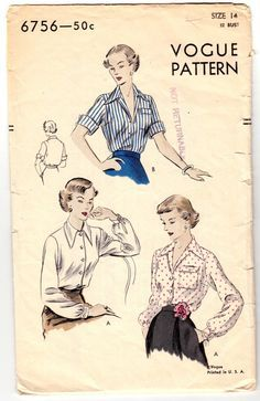 Image result for vintage button up blouse patterns free