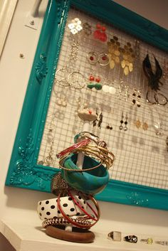 Jewelry organization DIY. Need to do something cute with my jewelry!!!
