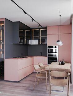 Modern Kitchen Interior Die grys en pienk werk baie mooi saam vir 'n moderne kombuis Modern Kitchen Design, Interior Design Kitchen, Modern Interior Design, Interior Decorating, Contemporary Interior, Design Bathroom, Modern Decor, Kitchen Contemporary, Modern Interiors