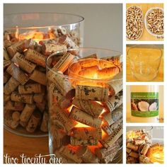 Cork Candle Votives -if you don't want your corks melting, make cork-filled votives instead. Place a small glass cylinder inside a large one, fill the empty space with corks, insert a candle, and you're good to go | 25 Things You Can DIY With Corks