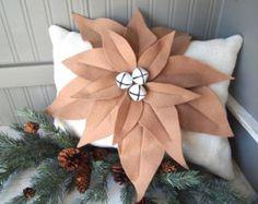 Christmas burlap wool felted poinsettia pillow, lumbar,