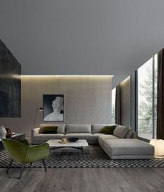 a dove grey L-shaped sectional sofa is the base of the room creating the conversation zone
