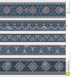 Set of borders, frames with ancient ornaments. Seamless pattern incl. Vector
