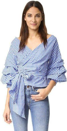 Online shopping for Bow Belted Front Exaggerated Lantern Sleeve Striped Top from a great selection of women's fashion clothing & more at MakeMeChic. Vintage Tops, Look Fashion, Fashion Outfits, Womens Fashion, Fashion Scarves, Fashion Tag, Blouse Styles, Blouse Designs, Mode Ab 50