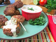 Easy Paleo Falafel with Tahini Dipping Sauce - Low Carb...tastes like a hush puppy with the added flavor cumin and parsley...
