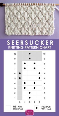 The Seersucker Stitch Knitting Pattern creates textured rows of raised puckered diamonds with an easy Repeat of knits and purls. - Tricot The Seersucker Stitch Knitting Pattern creates textured rows of raised puckered diamonds with an easy Repeat of kn. Knitting Charts, Easy Knitting, Knitting For Beginners, Knitting Stitches, Knitting Patterns Free, Start Knitting, Beginner Crochet, Free Crochet, Free Pattern